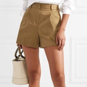 Theory pleated cotton-blend shorts